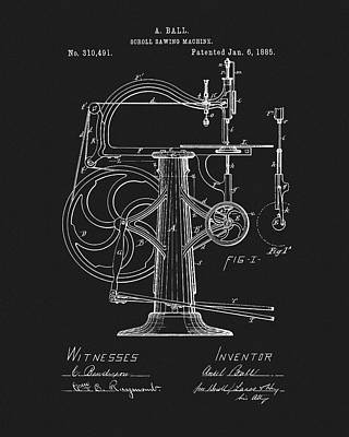 Drawing - 1885 Scroll Sawing Machine by Dan Sproul