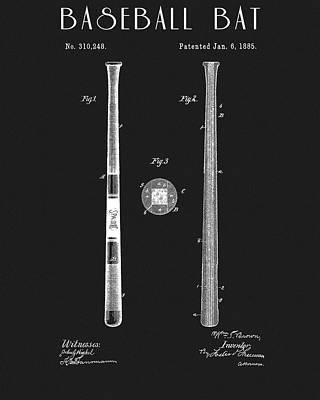 Athletes Royalty-Free and Rights-Managed Images - 1885 Spalding Baseball Bat by Dan Sproul