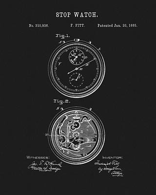 Drawing - 1885 Stop Watch Patent by Dan Sproul
