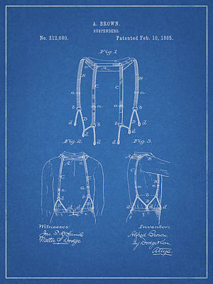 Politicians Drawings - 1885 Suspenders Patent by Dan Sproul