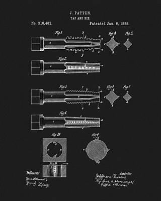 Drawing - 1885 Tap And Die Patent by Dan Sproul