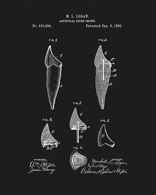 Drawing - 1885 Tooth Crown Patent by Dan Sproul