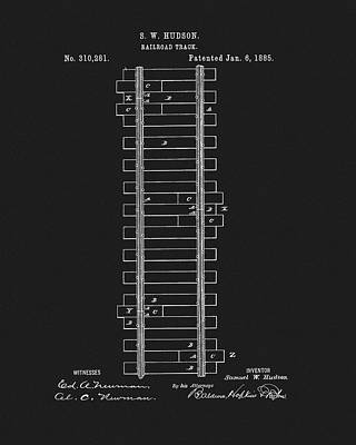 Drawing - 1885 Train Track Patent by Dan Sproul