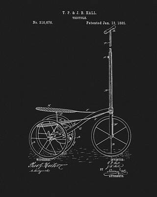 Drawing - 1885 Tricycle Patent by Dan Sproul