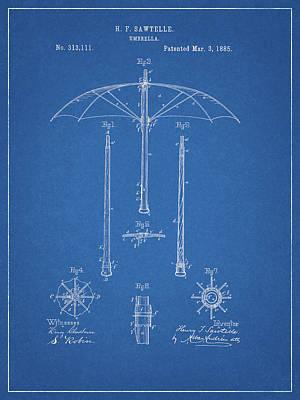 Drawing - 1885 Umbrella Patent by Dan Sproul