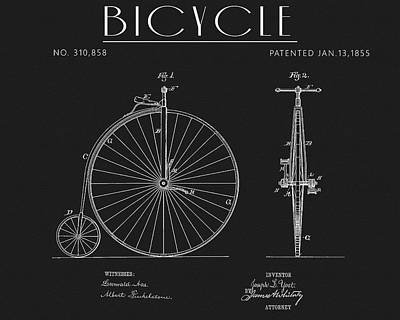 Drawing - 1885 Vintage Bicycle Patent by Dan Sproul