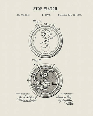 Drawing - 1885 Watch Design by Dan Sproul
