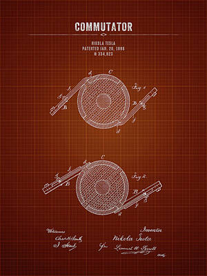 Soap Suds - 1886 Nikola Tesla Commutator - Dark Red Blueprint by Aged Pixel