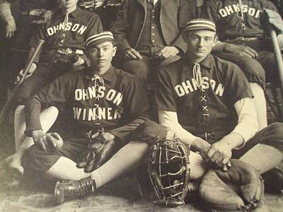 Sports Paintings - 1890 s Cabinet Card PHOTO  Johnson BASEBALL Team  Gloves 2 by Celestial Images