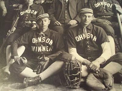 Af Vogue - 1890 s Cabinet Card PHOTO  Johnson BASEBALL Team  Gloves 2 by Celestial Images