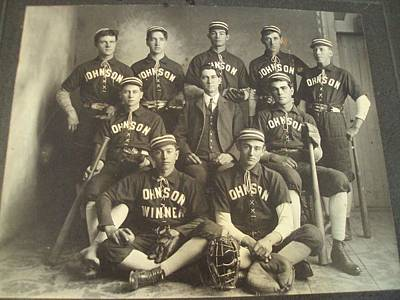 Sports Paintings - 1890 s Cabinet Card PHOTO  Johnson  BASEBALL Team Gloves by Celestial Images
