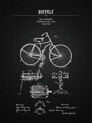 Transportation Digital Art - 1891 Bicycle - Black Blueprint by Aged Pixel