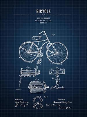 Transportation Digital Art - 1891 Bicycle - Dark Blueprint by Aged Pixel
