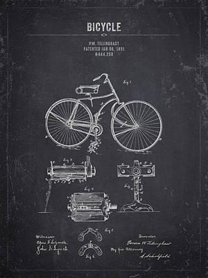 Transportation Digital Art - 1891 Bicycle - Dark Charcoal Grunge by Aged Pixel