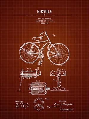 Transportation Digital Art - 1891 Bicycle - Dark Red Blueprint by Aged Pixel