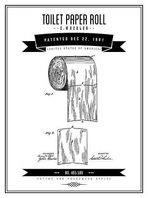 Digital Art - 1891 Toilet Paper Roll - Black Retro Style by Aged Pixel