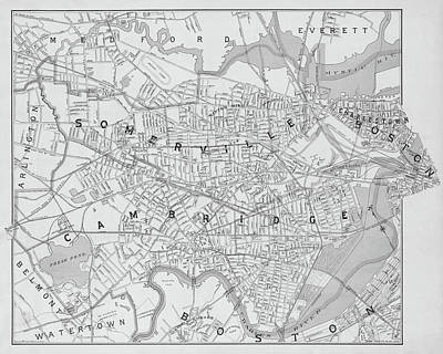 Photograph - 1892 Map Of Somerville Cambridge Boston Medford Everett Charleston Ma Massachusetts Black And White by Toby McGuire