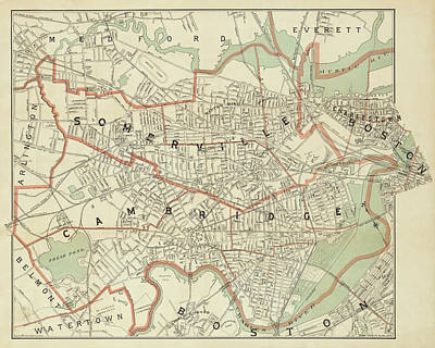 Photograph - 1892 Map Of Somerville Cambridge Boston Medford Everett Charleston Ma Massachusetts by Toby McGuire