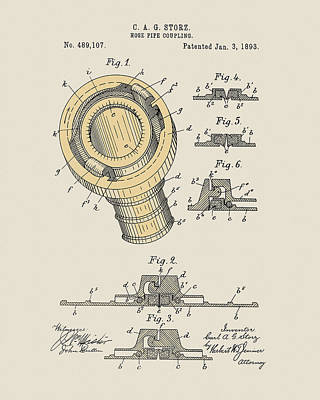 Drawing - 1893 Pipe Coupling by Dan Sproul