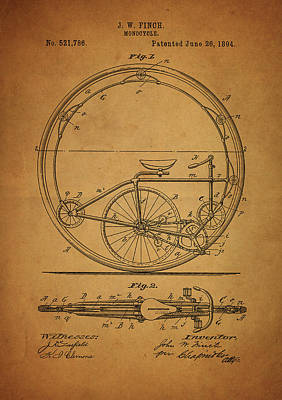 Drawing - 1894 Monocycle Patent by Dan Sproul