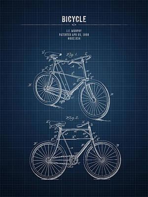 Transportation Digital Art - 1898 Bicycle - Dark Blueprint by Aged Pixel