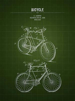 Transportation Digital Art - 1898 Bicycle - Dark Green Blueprint by Aged Pixel