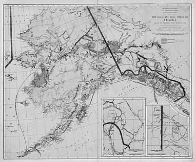 Digital Art - 1898 The Gold And Coal Fields Of Alaska Map Black And White by Toby McGuire