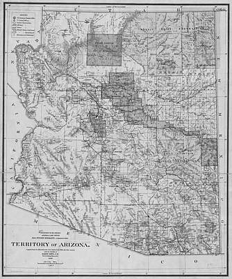 Digital Art - 1899 Territory Of Arizona Map Historical Map Black And White by Toby McGuire