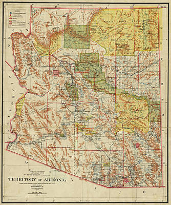 Digital Art - 1899 Territory Of Arizona Map Historical Map by Toby McGuire