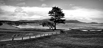 World War 2 Action Photography Royalty Free Images - 18th at Pebble Beach Panorama Black and White Royalty-Free Image by Judy Vincent
