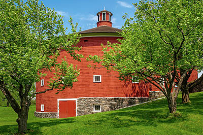 Photograph - 1901 New England Round Barn  -  1901roundshakerbarn185638 by Frank J Benz