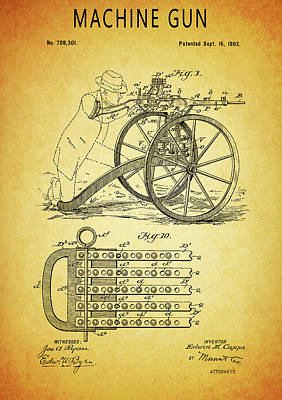 Glass Art - 1902 Machine Gun Patent by Dan Sproul