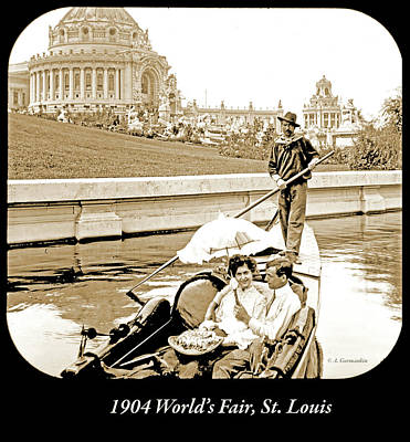 Photograph - 1904 Worlds Fair, Sighteeing Boat, Oarsman And Couple by A Gurmankin