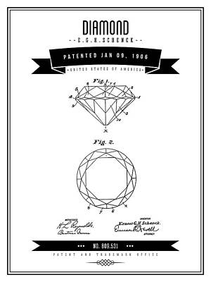 Digital Art - 1906 Diamond - Black Retro Style by Aged Pixel