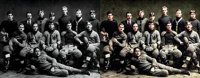 Sports Paintings - 1907 Wayland High School Football Team colorized image comparison  by Artistic Panda