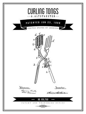 Digital Art - 1908 Curling Tongs Patent Drawing - Retro Gray by Aged Pixel