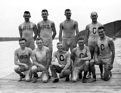 Sports Paintings - 1911 Cornell Varsity Crew Team Vintage Photograph by Celestial Images
