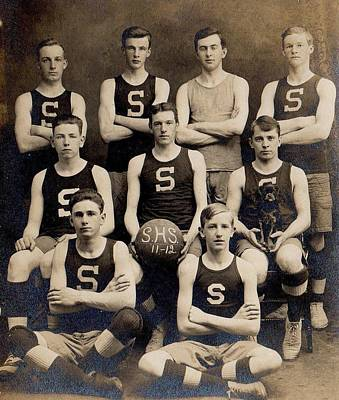 Sports Paintings - 1912 Spaulding High School  Barre VT  basketball team  with mascot dog  by Celestial Images
