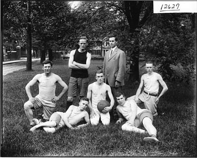 Red Roses - 1912 Summer School Basketball Team  Miami U  Ohio Vintage Photograph by Celestial Images