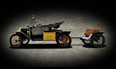 Photograph - 1914 Model T Ford Runabout Convertible  -  1914fordmodeltconvertibletexture149300 by Frank J Benz