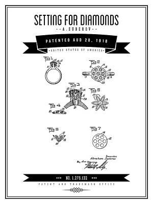 Digital Art - 1918 Setting For Diamonds - Black Retro Style by Aged Pixel
