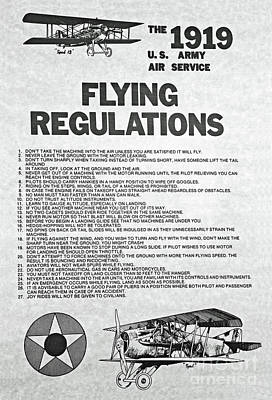 Photograph - 1919 Flying Regulations Poster by Kevin McCarthy