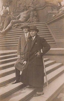 Kids Alphabet - 1920s Guys Two Young Man Stylish Pose on Stairs by Celestial Images