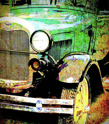 Digital Art - 1929 Green Model A Ford Grunge by David King