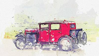 Catch Of The Day - 1930 Avions Voisin C23 C23 Conduite Interieure 2 watercolor by Ahmet Asar by Ahmet Asar