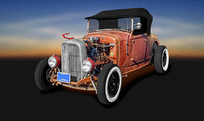 Photograph - 1930 Ford Convertible Rat Rod  -  1930fordratrodconvertible196380 by Frank J Benz