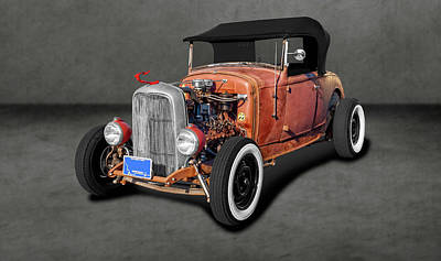 Photograph - 1930 Ford Convertible Rat Rod  -  1930ratrodfordconvertdblback196380 by Frank J Benz