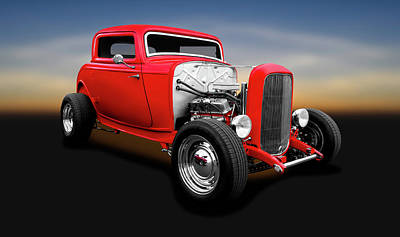 Photograph - 1932 Ford 3-window Deuce Coupe  -  1932ford3windowdeucecoupe138139 by Frank J Benz