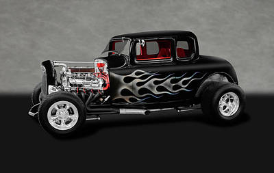 Photograph - 1932 Ford 5-window Coupe  -  1932ford5windowcoupegray186014 by Frank J Benz