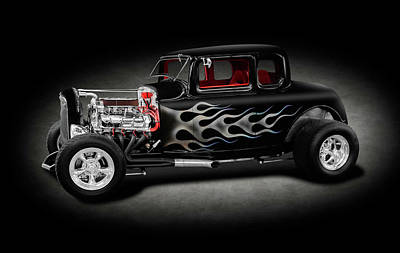 Photograph - 1932 Ford 5-window Coupe  -  1932ford5windowcoupespttext186014 by Frank J Benz